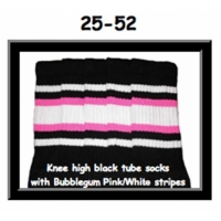 25 SKATERSOCKS black style 25-052 white/bubblegum pink...