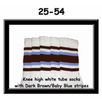 "25"" SKATERSOCKS white style 25-054 dark brown/baby..."