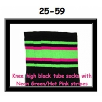 25 SKATERSOCKS black style 25-059 neon green/hot pink...