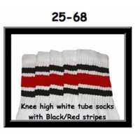 "25"" SKATERSOCKS white style 25-068 black/red stripes"