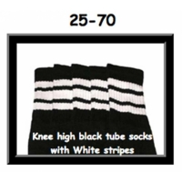 25 SKATERSOCKS black style 25-070 white stripes