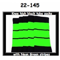 22 SKATERSOCKS black style 22-145 neon green stripes