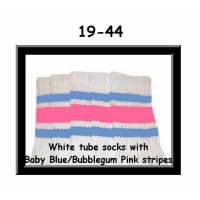 19 SKATERSOCKS white style 19-044 baby blue/bubblegum pink stripes
