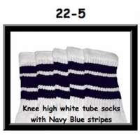 "22"" SKATERSOCKS white style 22-005 navy blue stripes"