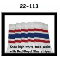22 SKATERSOCKS white style 22-113 red/ royalblue stripes