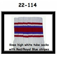 22 SKATERSOCKS white style 22-114 red/royal blue stripes