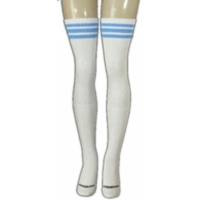 35 SKATERSOCKS white style 35-06 baby blue stripes