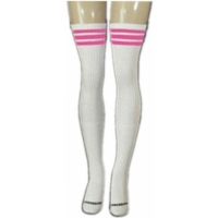 35 SKATERSOCKS white style 35-08 bubblegum pink stripes