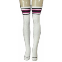 35 SKATERSOCKS white style 35-09 black/hot pink stripes