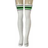 35 SKATERSOCKS white style 35-11 black/neon green stripes