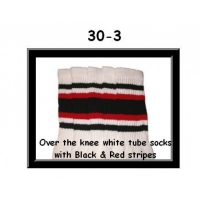30 SKATERSOCKS white style 30-03 black/red stripes