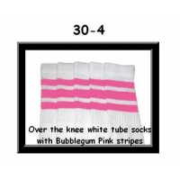 30 SKATERSOCKS white style 30-04 bubblegum pink stripes