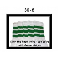 "30"" SKATERSOCKS white style 30-08 green stripes"