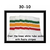 30 SKATERSOCKS white style 30-10 rasta stripes