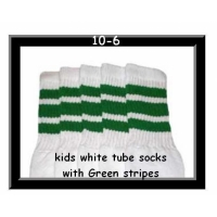 10 SKATERSOCKS white style 10-06 green stripes