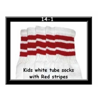 14 SKATERSOCKS white style 14-01 red stripes