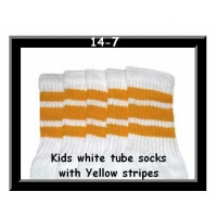 14 SKATERSOCKS white style 14-07 yellow stripes