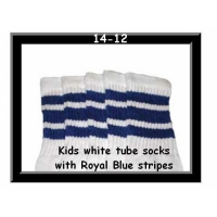 14 SKATERSOCKS white style 14-12 royal blue stripes