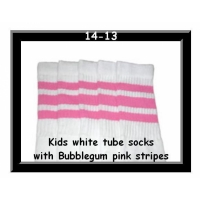 14 SKATERSOCKS white style 14-13 bubblegum pink stripes