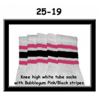 25 SKATERSOCKS white style 25-019 bubblegum pink/black...