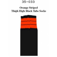 "35"" SKATERSOCKS black style 35-33 orange stripes"