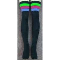 35 SKATERSOCKS black style 35-21 neon green/hot pink/baby blue stripes
