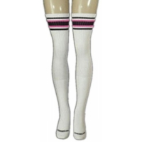35 SKATERSOCKS white style 35-01 black/bubblegum pink...