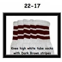 22 SKATERSOCKS white style 22-017 dark brown stripes