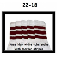 22 SKATERSOCKS white style 22-018 maroon stripes