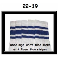 22 SKATERSOCKS white style 22-019 royal blue stripes