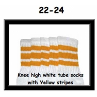 22 SKATERSOCKS white style 22-024 yellow stripes