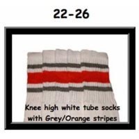 22 SKATERSOCKS white style 22-026 grey/orange/grey stripes