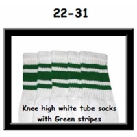 "22"" SKATERSOCKS white style 22-031 green stripes"