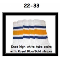 22 SKATERSOCKS white style 22-033 royal blue/gold stripes