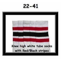 "22"" SKATERSOCKS white style 22-041 red/ black stripes"