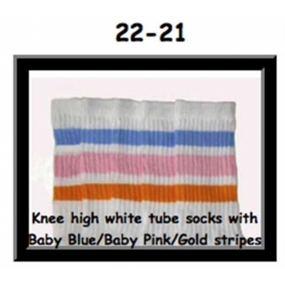 22 SKATERSOCKS white style 22-021 baby blue/baby pink/golden stripes
