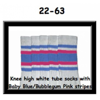 22 SKATERSOCKS white style 22-063 baby blue/bubblegum pink stripes