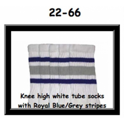 22 SKATERSOCKS white style 22-066 royal blue/grey stripes