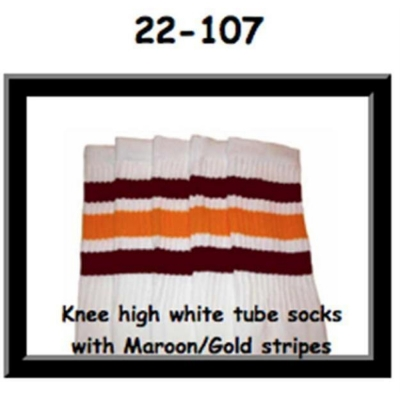 22 SKATERSOCKS white style 22-107 maroon/gold stripes