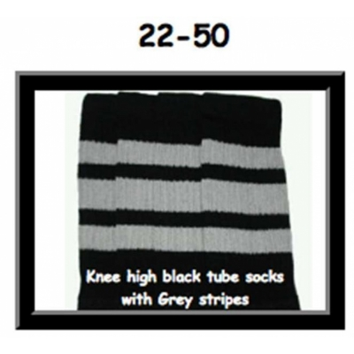 22 SKATERSOCKS black style 22-050 grey stripes