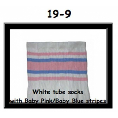 19 SKATERSOCKS white style 19-009 baby pink baby/blue stripes