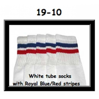19 SKATERSOCKS white style 19-010 royal blue/red stripes