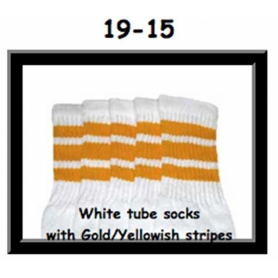 19 SKATERSOCKS white style 19-015 yellow stripes