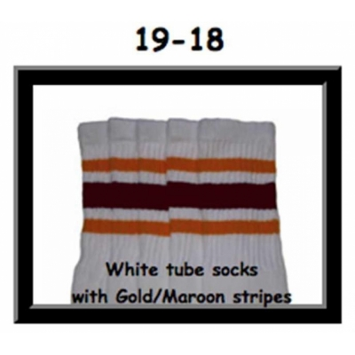 19 SKATERSOCKS white style 19-018 gold/maroon stripes