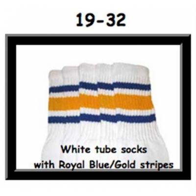 19 SKATERSOCKS white style 19-032 gold/royal blue stripes