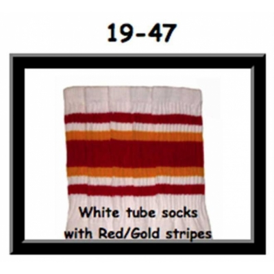 19 SKATERSOCKS white style 19-047 red/gold stripdes