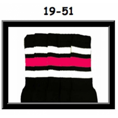19 SKATERSOCKS black style 19-051 white/bubblegum pink stripes