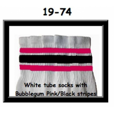 19 SKATERSOCKS white style 19-074 with bubblegum pink/black stripes