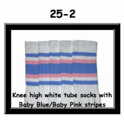 25 SKATERSOCKS white style 25-002 baby blue/baby pink stripes