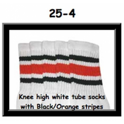 25 SKATERSOCKS white style 25-004 black/orange stripes